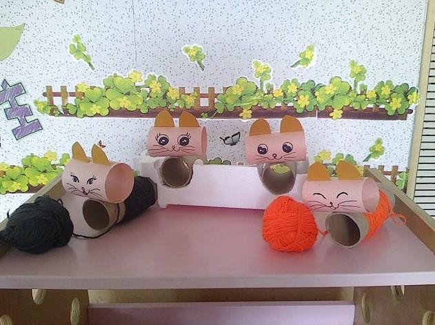 幼儿园手工制作自制玩教具纸杯纸筒纸盒手工