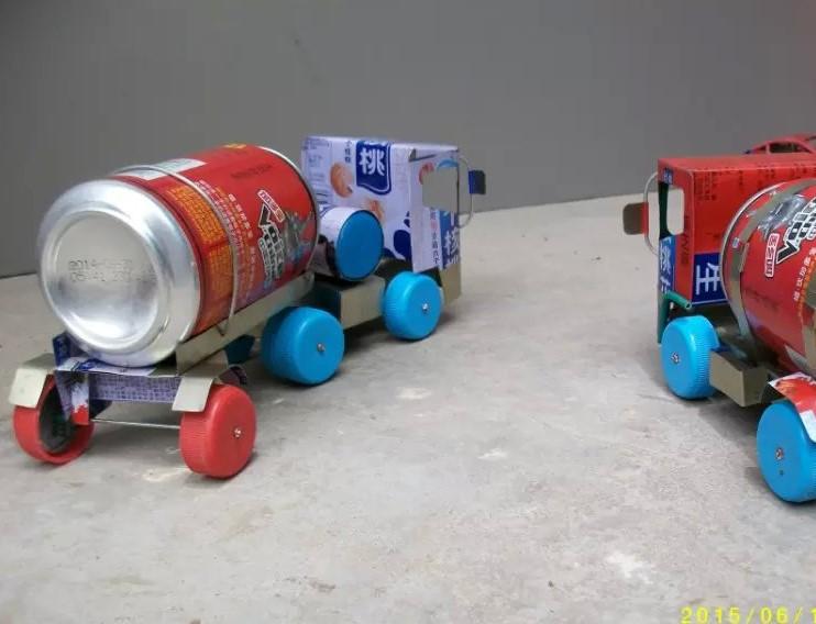 幼儿园手工制作废旧材料饮料罐饮料瓶手工制作玩具