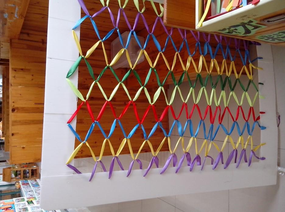 生成活动在我园的民族教育活动中,我班的环境布置借鉴民族工艺上,竹编、草编、布编、绳编等各种编织物,展示着许多具有民族特色的工艺品,通过创设环境,观察编织物品,激发幼儿参与学习的欲望。培养幼儿多种能力。